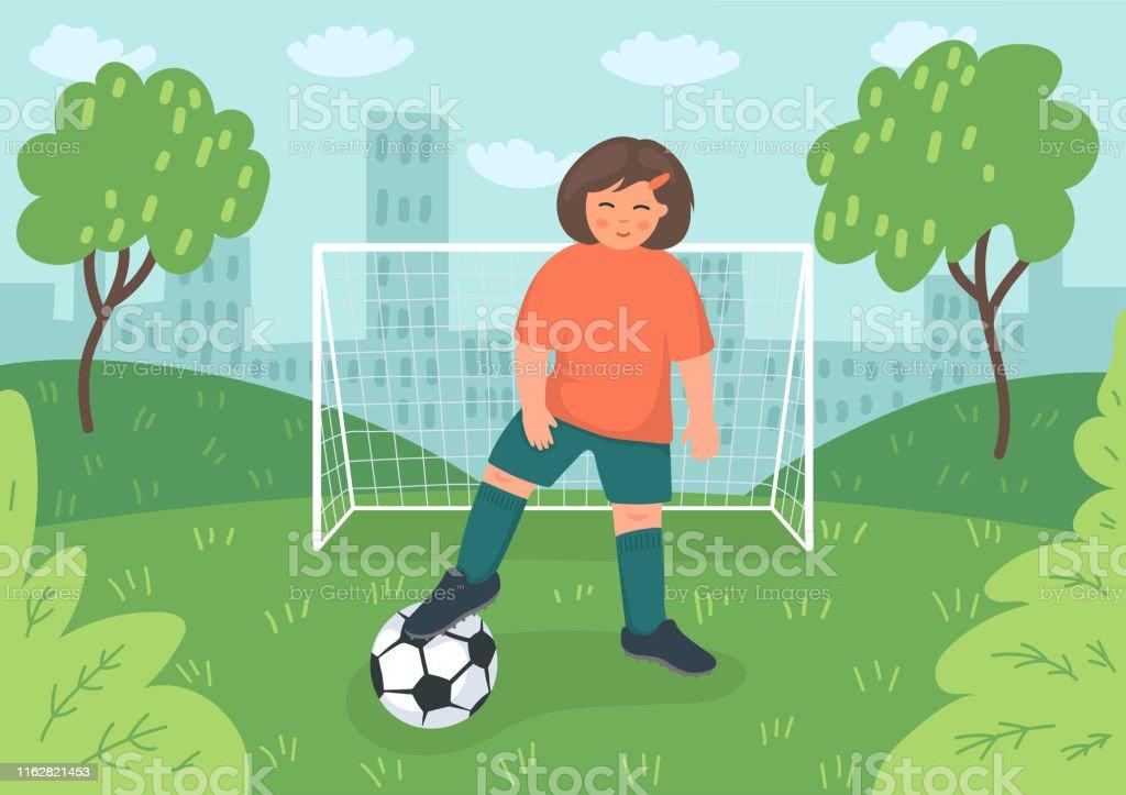 Kleine Fussballerin Mit Fussball In Der Nahe Von Fussballtoren