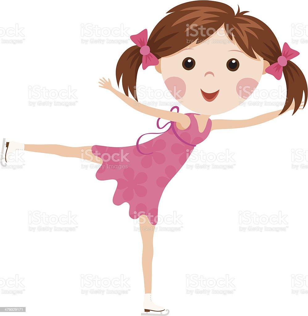 Little figure skating girl royalty-free stock vector art