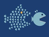 Little Fish Eat Big Fish. Unity, Teamwork, Organize Concept