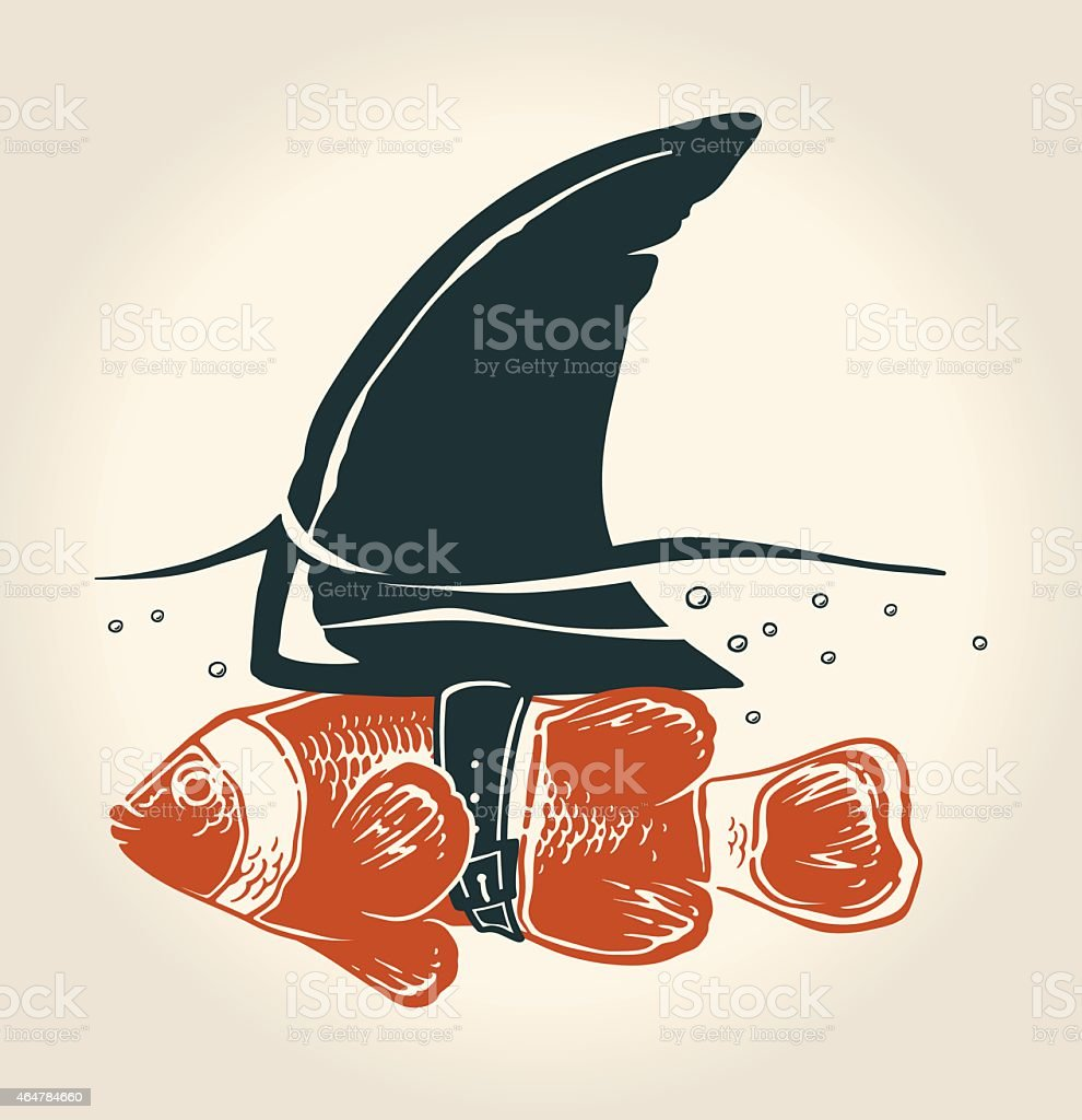Little fish with great idea vector art illustration