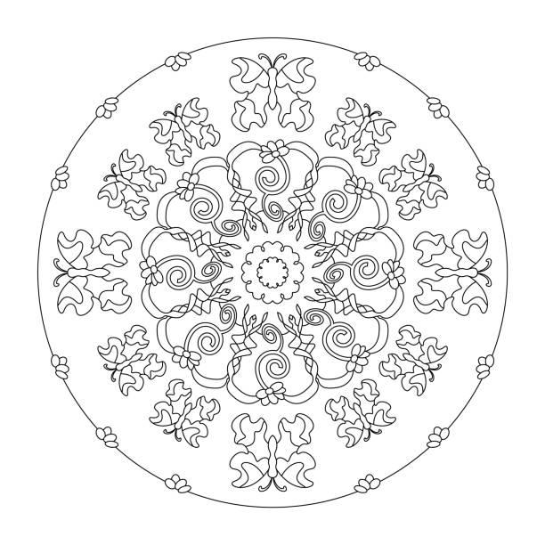 Petites fleurs et papillons. Page de coloriage Mandala. - Illustration vectorielle