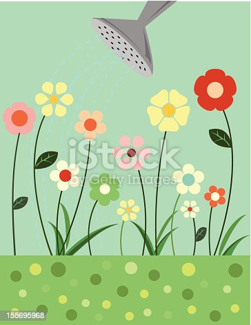 Illustration of little flowers being watered.