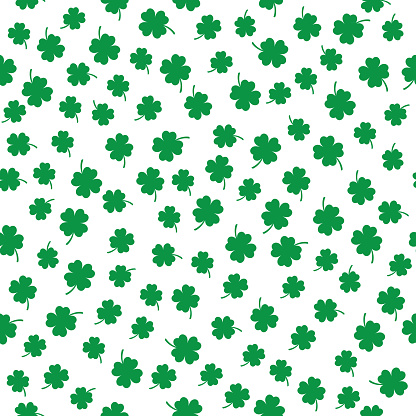 Little Four Leaf Clovers Seamless Pattern