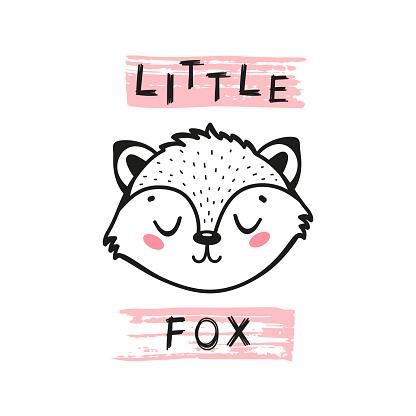 Little Fox Face. Doodle Cute Fox Head for Tee Print Design for Kids. Vector Cartoon Little Baby Animal. Scandinavian Card, Print or Poster Design