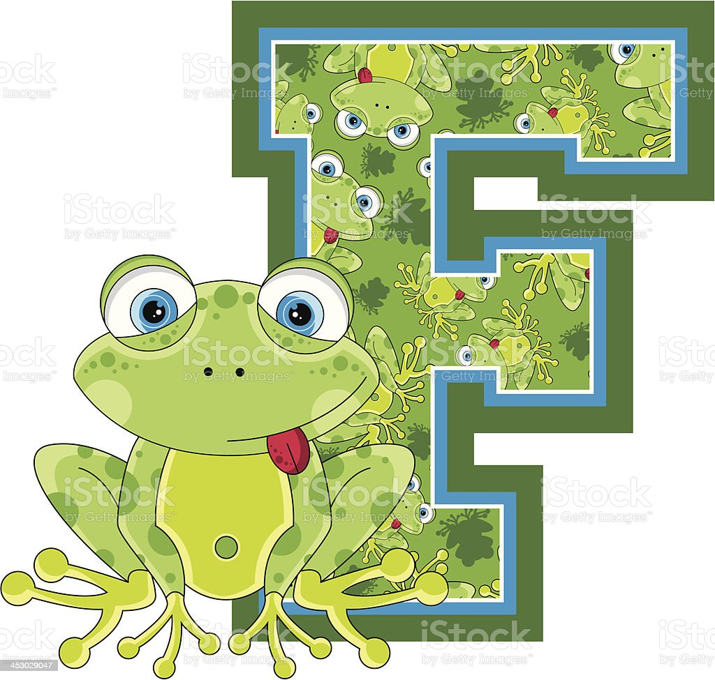 Little Frog Patterned Learning Letter F royalty-free stock vector art