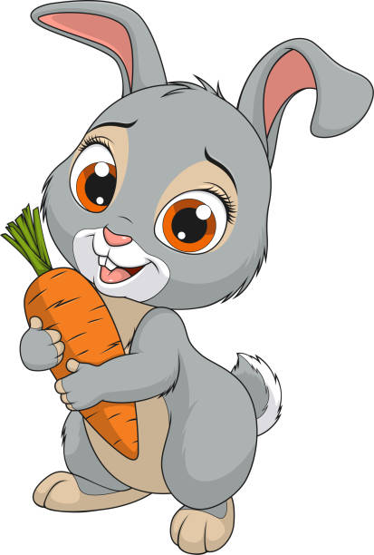 little funny bunny - rabbit animal stock illustrations