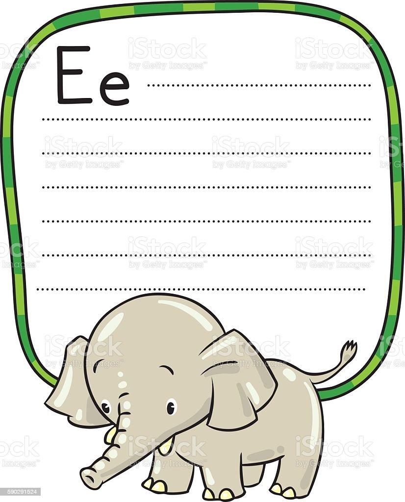 Little funny elephant or jumbo. Alphabet E royaltyfri little funny elephant or jumbo alphabet e-vektorgrafik och fler bilder på alfabet