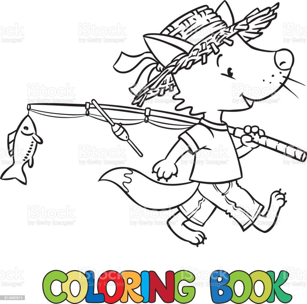 Pequeño Zorro Divertido Ir A Pescar Libro Para Colorear - Arte ...