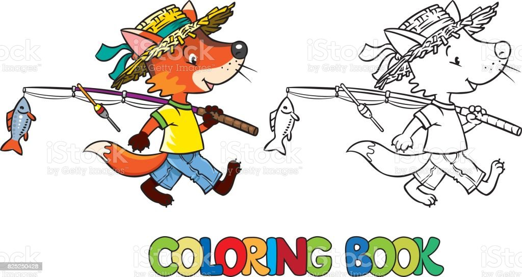 Little funny fox go fishing. Coloring book vector art illustration
