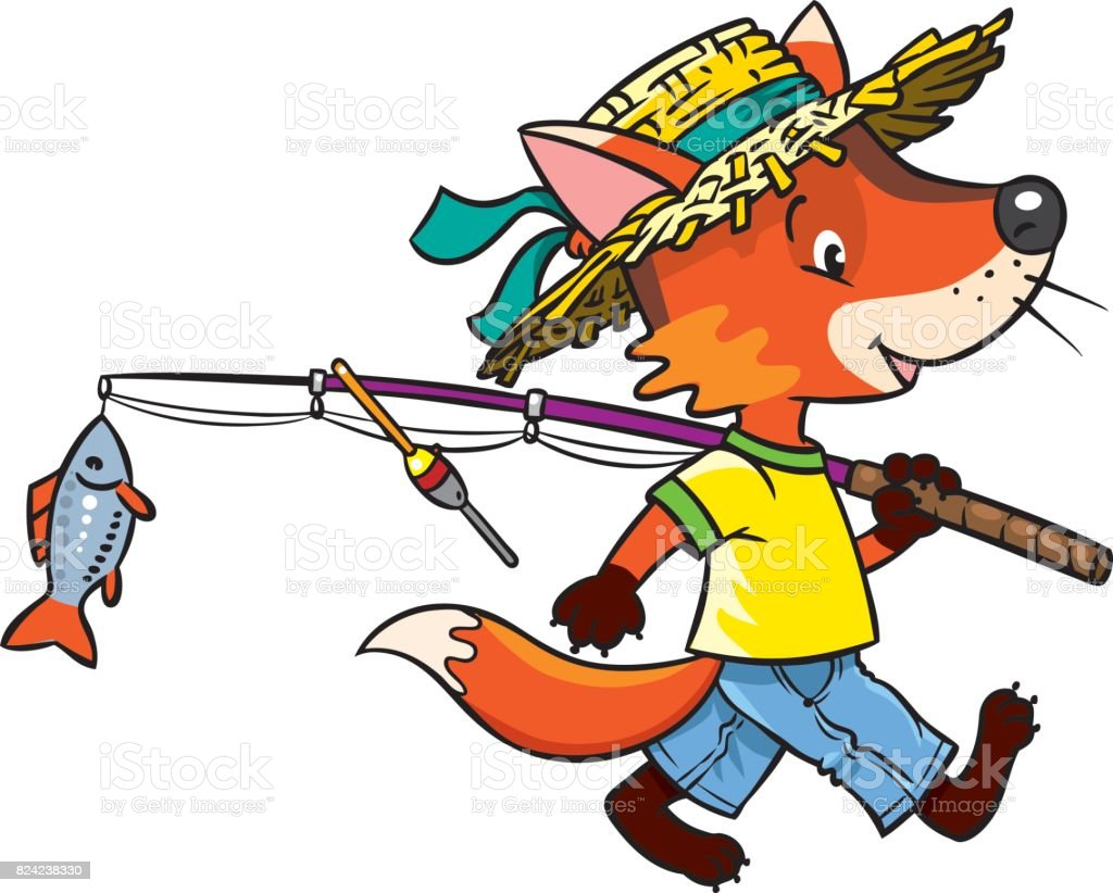 Little funny fox go fishing. vector art illustration