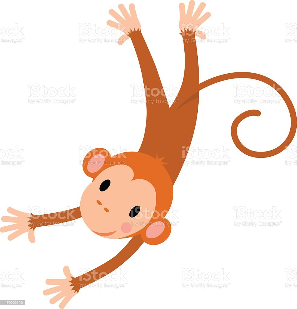 Little Funny Monkey Drawing For Kids On White Background
