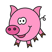 Little funny pig cartoon.