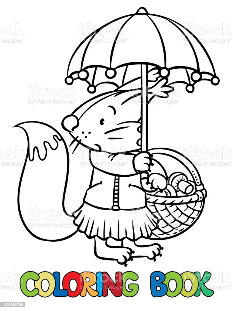 Little Funny Squirrel With Umbrella Coloring Book Royalty Free