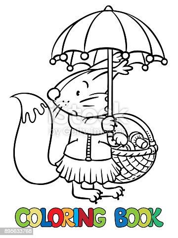 Ilustración de Pequeña Ardilla Graciosa Con Paraguas Libro Para ...