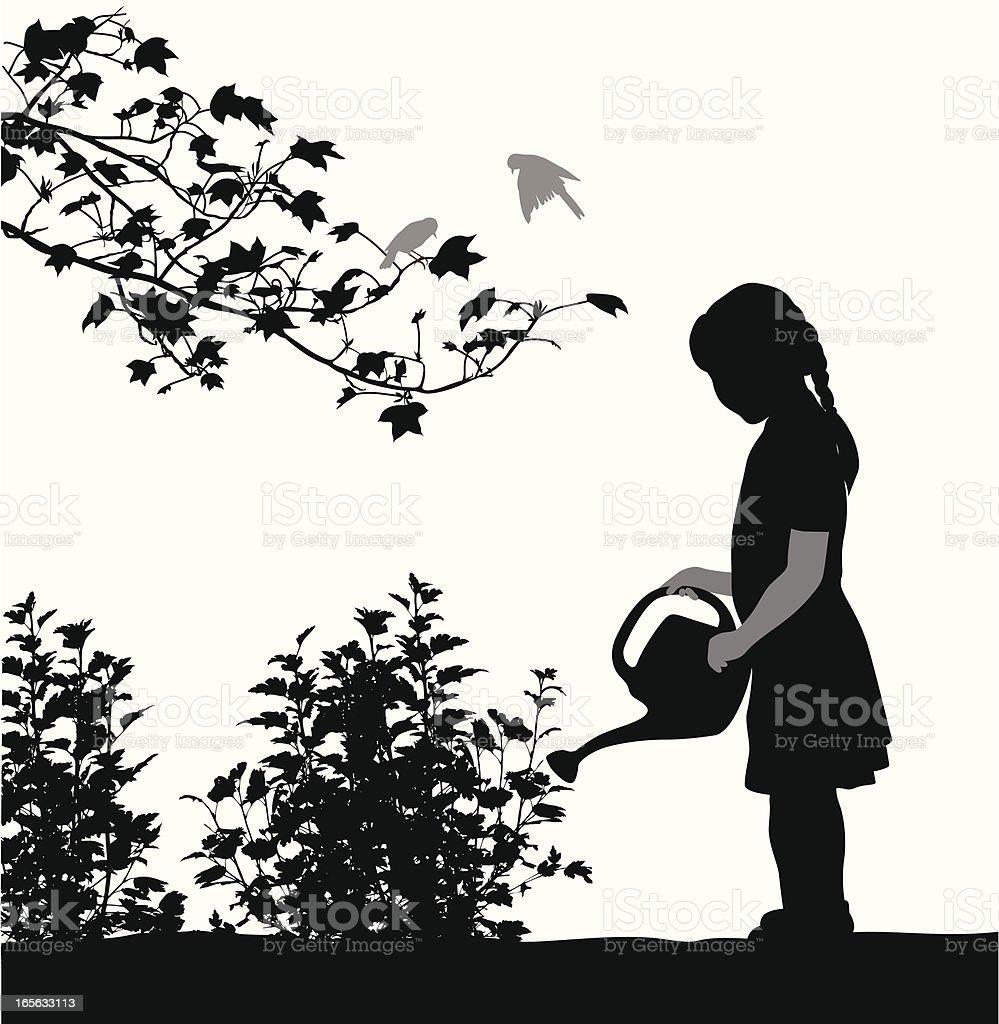 Little Gardener Vector Silhouette vector art illustration