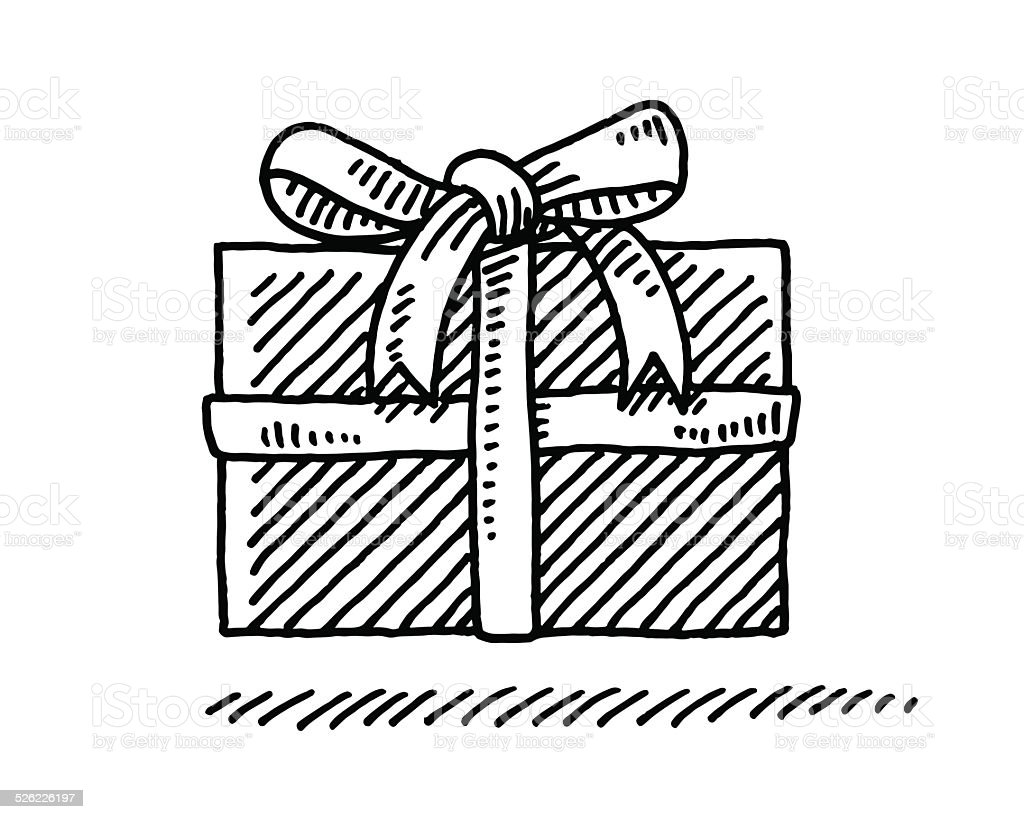 Little Gift Box Bow Drawing Stock Vector Art More Images Of