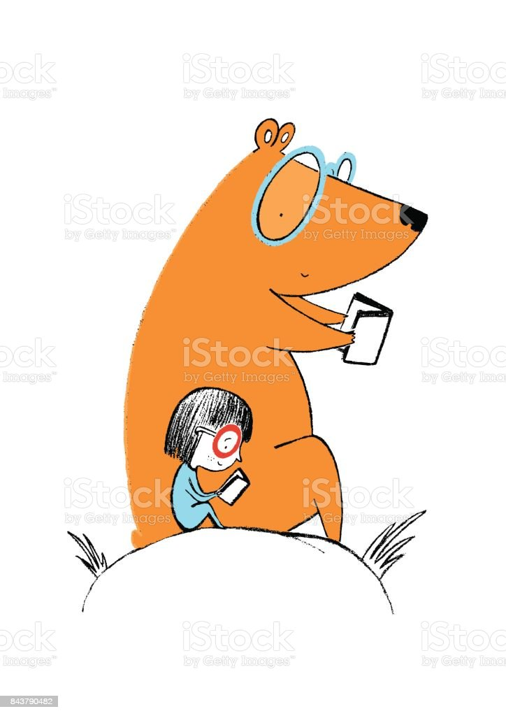 Little girl and a bear reading books vector art illustration