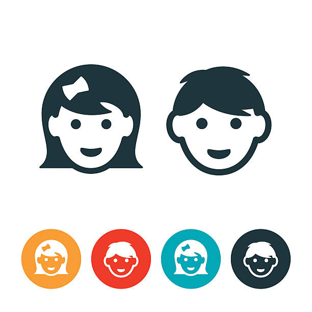Little Girl and Boy Avatars Icon avatars of a little girl and a little boy. The icons show just the heads of two kids in age ranging from 4-8 years old. The little girl and little boy are smiling. girls stock illustrations