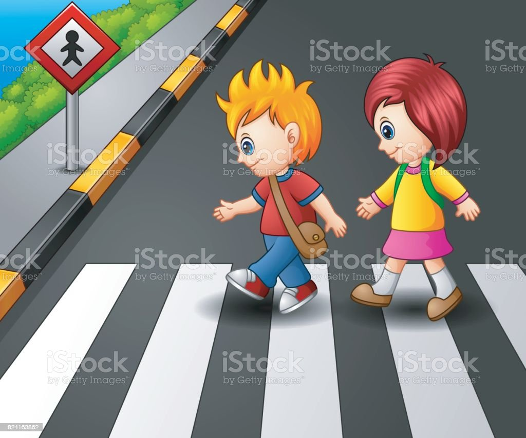 Little girl and boy crossing the street vector art illustration
