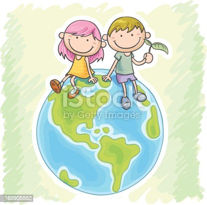 istock Little girl and boy sitting on the globe 165905552