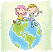 Little girl and boy sitting on the globe in colourful cartoon style