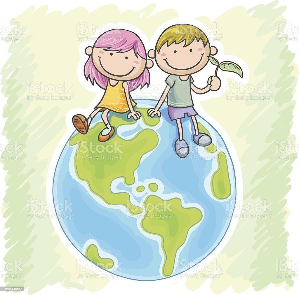 小さな女の子と男の子には、世界各地のラウンジ ベクターアートイラスト