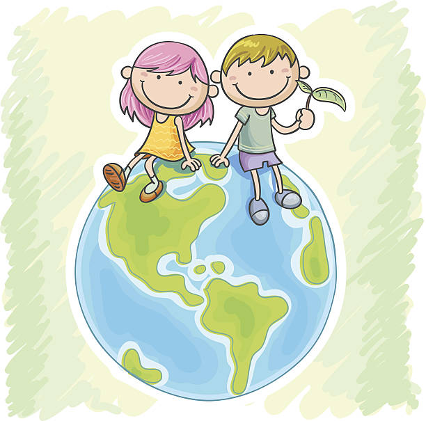 little girl and boy sitting on the globe - anime girl stock illustrations