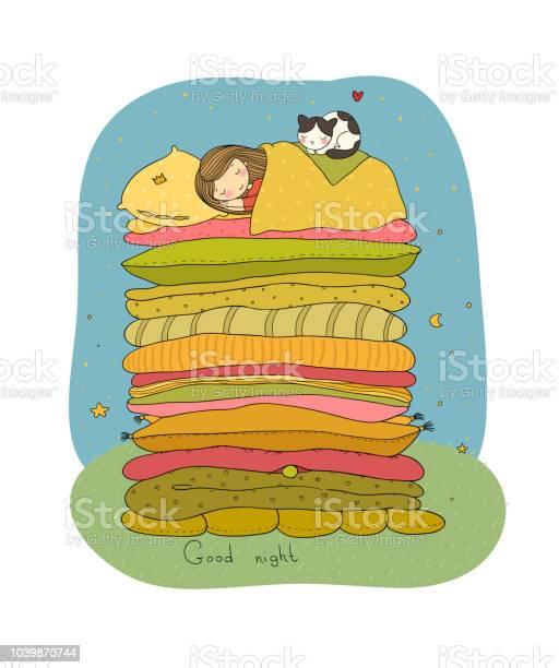 Little girl and cute cat are sleeping on the bed good night vector id1039870744?b=1&k=6&m=1039870744&s=612x612&h=ecqp5yoqteu ywccscelciisogg7n23pugsuczzgaz0=