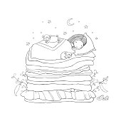 Good night. Sweet dreams. Vector illustration. bed time. Isolated objects on white background. Happy dogs