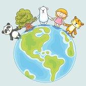 Little girl and endangered animals illustration