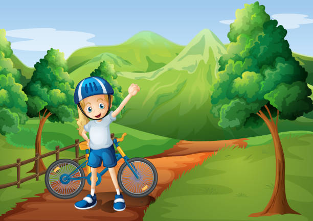 little girl and her bike at pathway near wooden fence vector art illustration