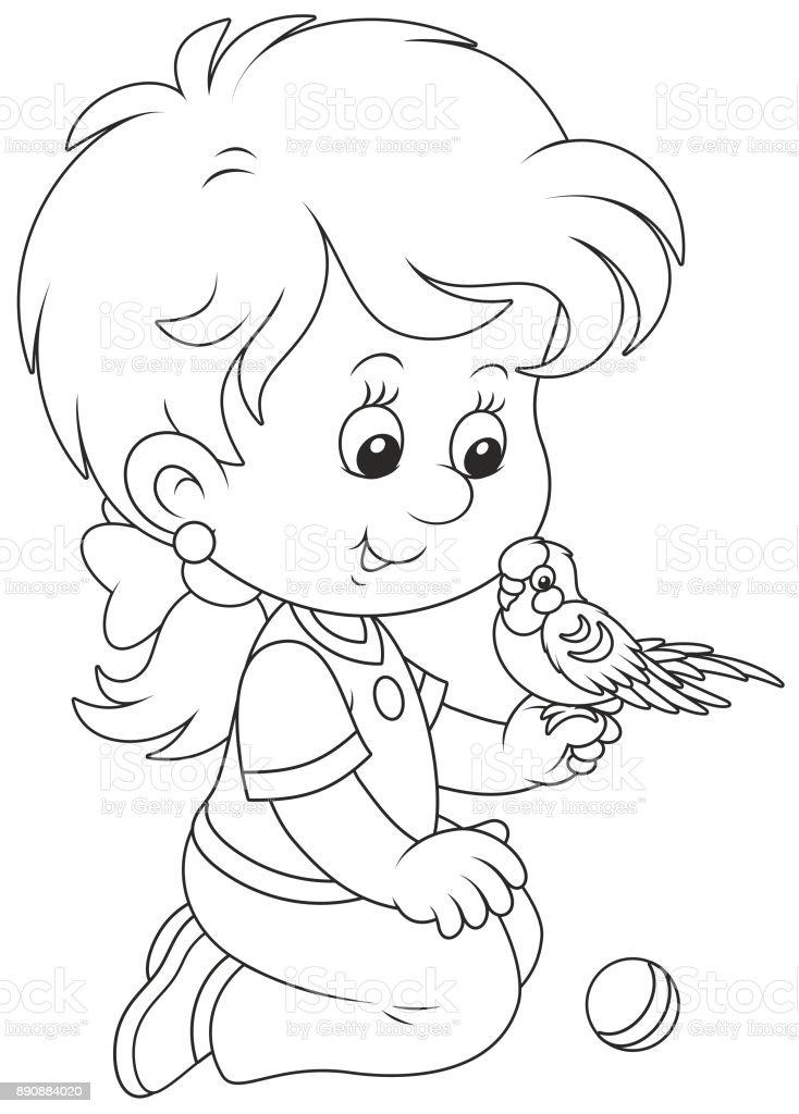 Kucuk Kiz Ve Onun Muhabbet Kusu Stok Vektor Sanati Animasyon
