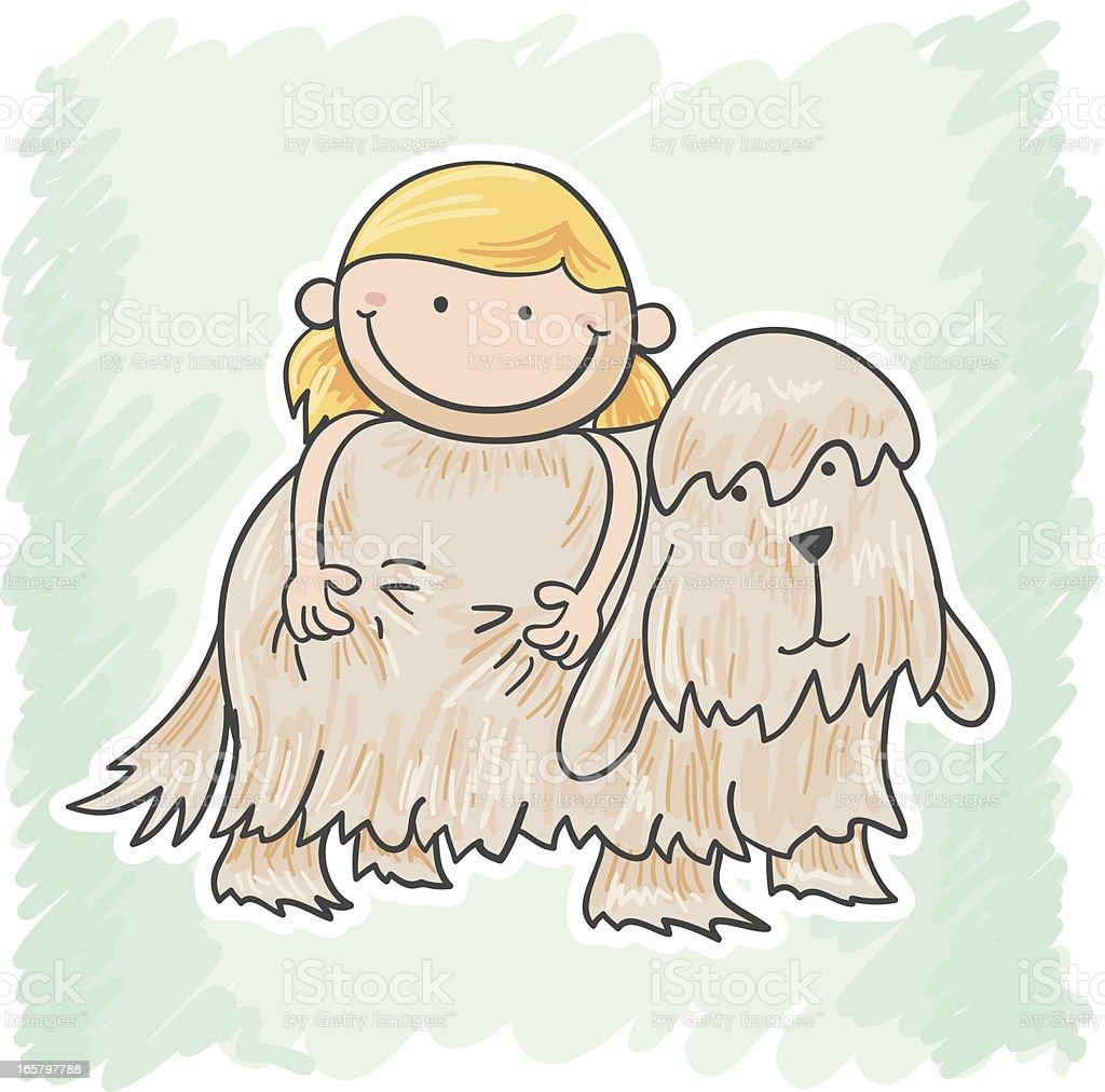 Little girl and her fluffy dog vector art illustration