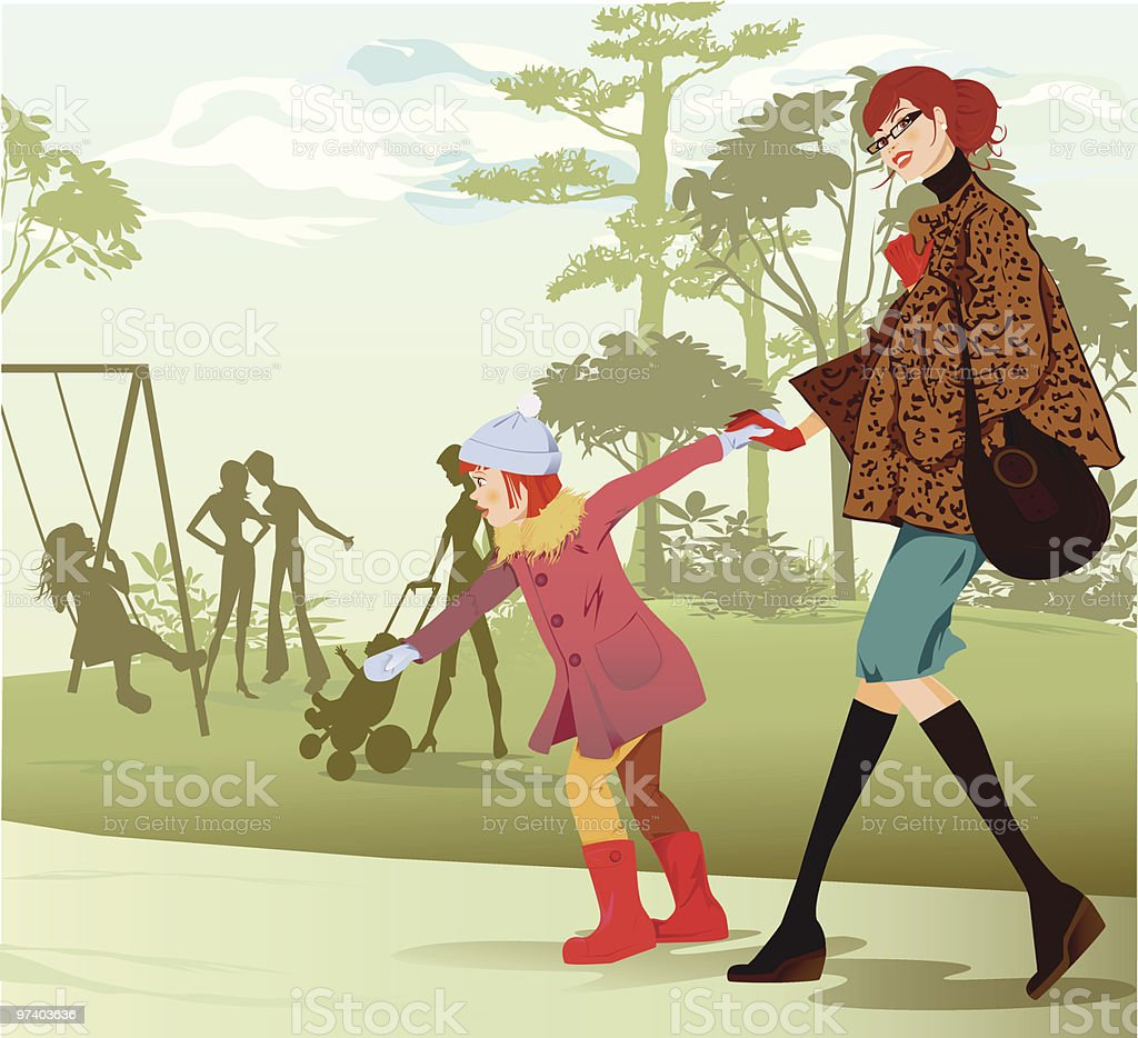 Little Girl and Mother Walking Towards Playground royalty-free little girl and mother walking towards playground stock vector art & more images of adult