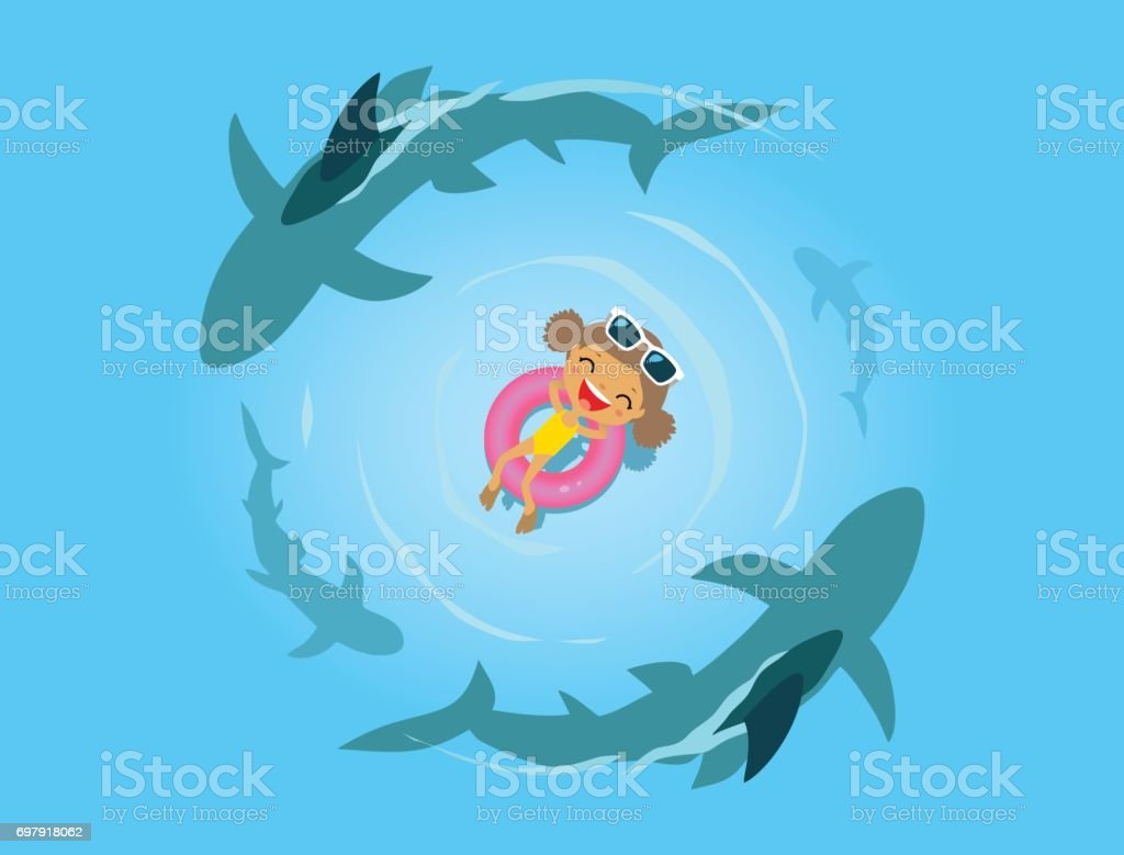 Little girl and sharks in the sea vector art illustration