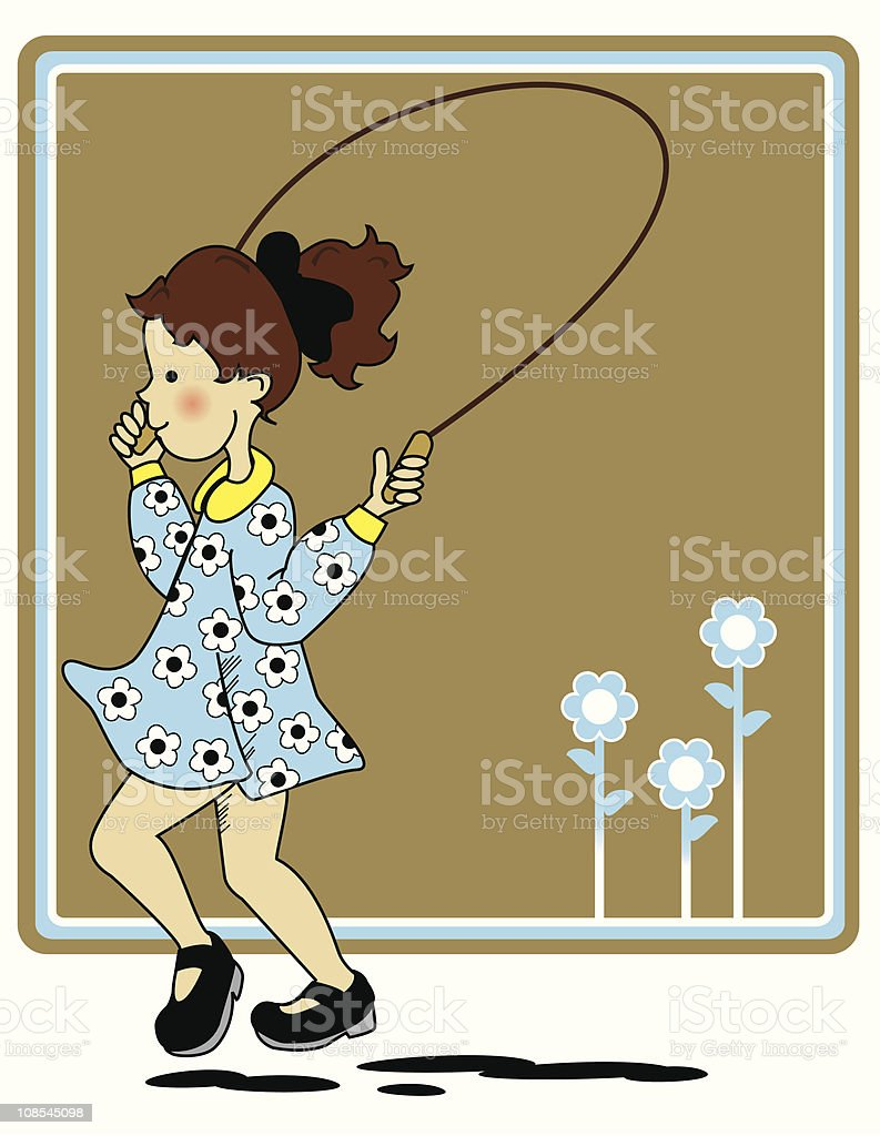 Little Girl and Skipping Rope royalty-free stock vector art