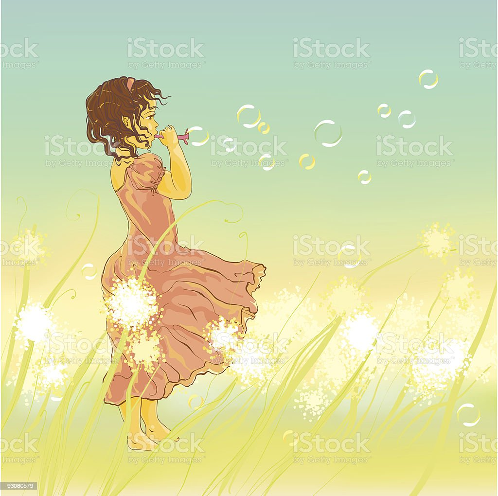 Little girl and soap bubbles royalty-free little girl and soap bubbles stock vector art & more images of art