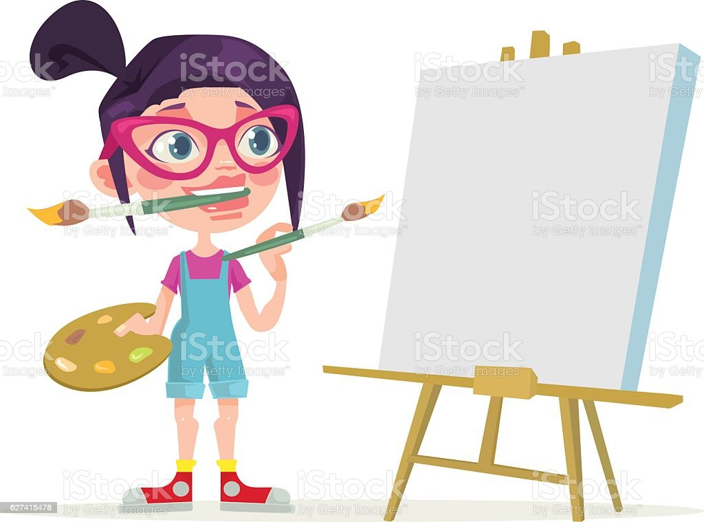 Little girl artist character. Blank canvas. Vector flat cartoon illustration vector art illustration