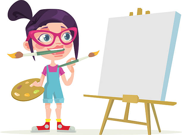 ilustraciones, imágenes clip art, dibujos animados e iconos de stock de little girl artist character. blank canvas. vector flat cartoon illustration - pintor