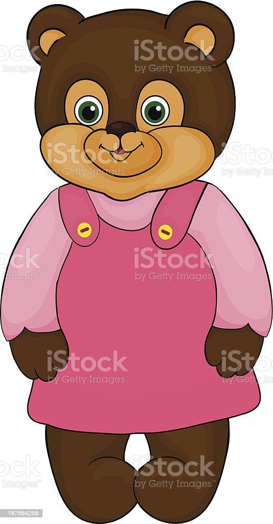 little girl bear, cartoon, isolated on white royalty-free stock vector art