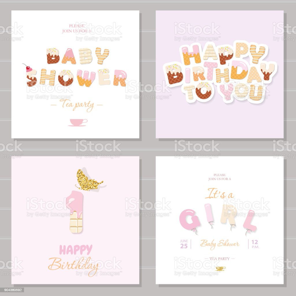 Little girl birthday and baby shower invitation cards set one year little girl birthday and baby shower invitation cards set one year anniversary sweet and stopboris Image collections