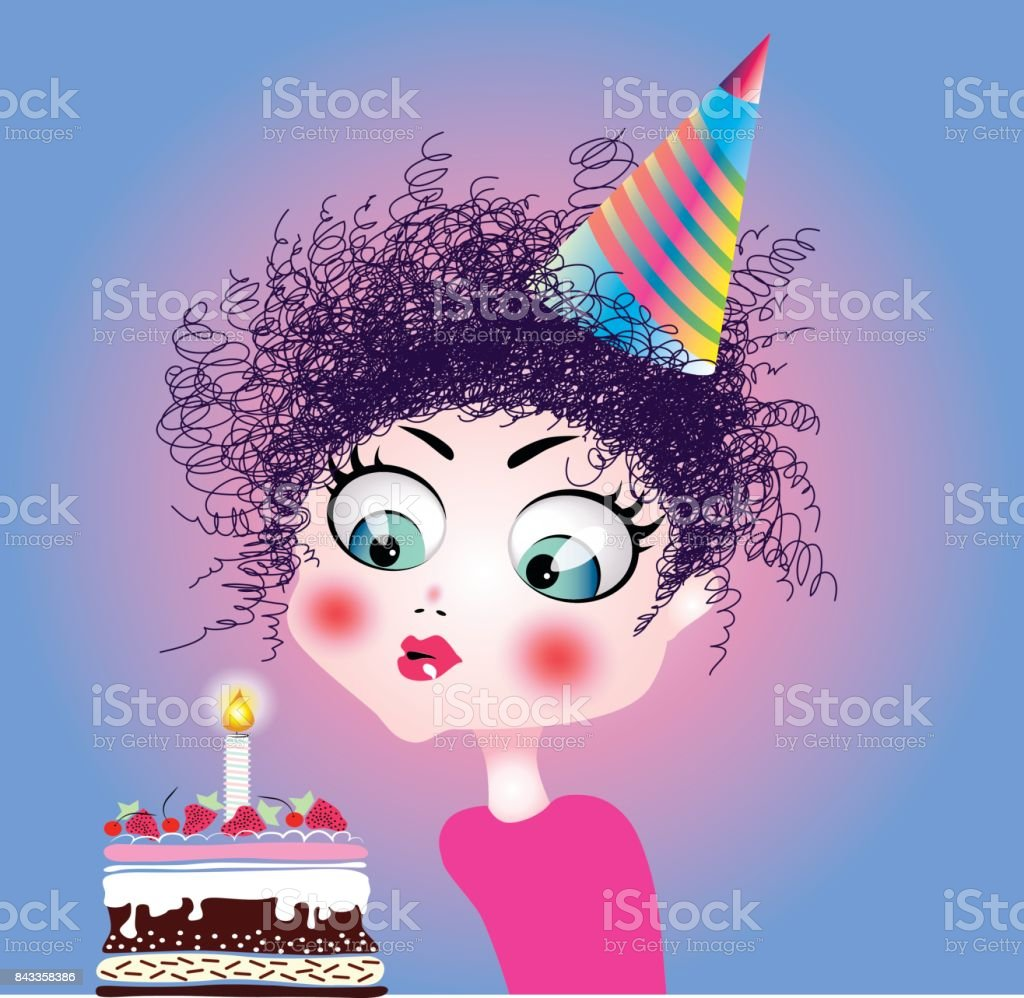 Little Girl Blowing Birthday Cake Candle Vector Illustration Stock