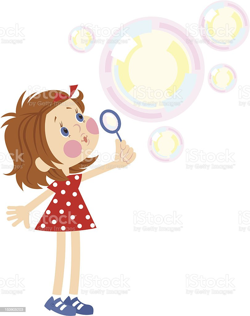 Little girl blowing bubbles royalty-free stock vector art