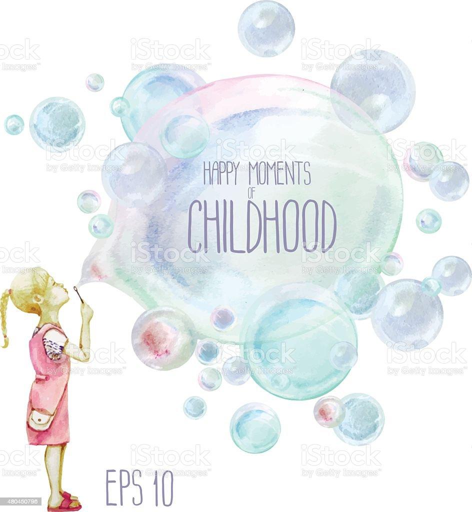 Little girl blowing soup bubbles vector art illustration