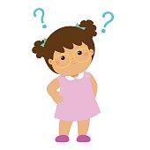 Little girl brown skin wear glasses wondering cartoon character vector