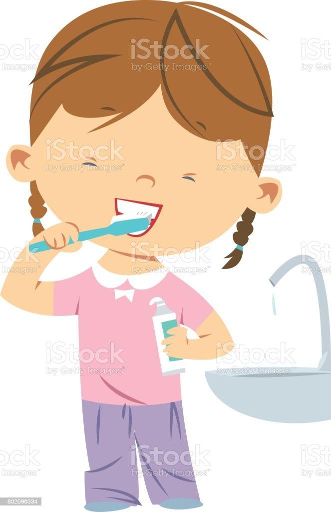 Little girl brushing teeth vector art illustration