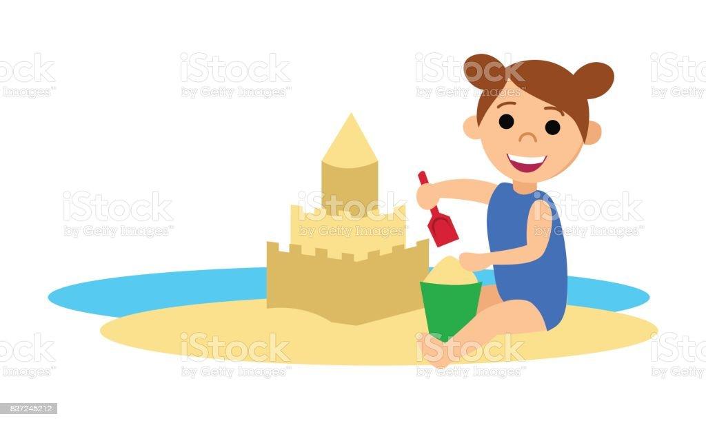 royalty free kids building sand castle clip art vector images rh istockphoto com sand castle clipart free vector sand castle clip art images