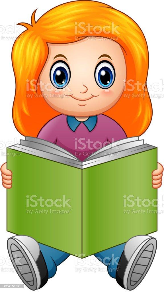 Vetores De Desenho Menina Lendo Um Livro E Mais Imagens De Alegria