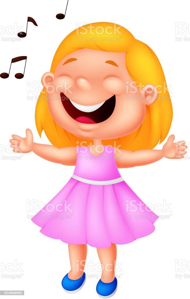 Petite Fille Dessin Animé Chanter Vecteurs Libres De Droits