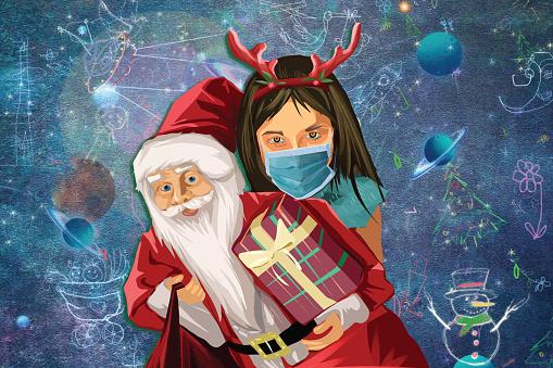 Little girl celebrating Christmas and Santa holding a present